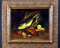 Antique French still life painting Basket with fish of the 19th century, Tablouri cu peste Realizat