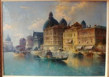 Antique large oil on canvas painting of Venice, Tablou cu peisaj Venetian, tablou cu gondole, tablou cu vapoare, tablou nautic, tablou arhitectural cu cladiri Venetiene