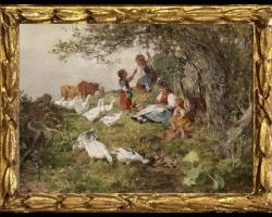 Antonio Montemezzo, Tablou cu peisaj de vara, tablou cu animale, tablou cu oameni in padure, tablou cu rate