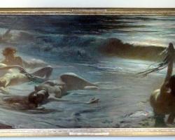 Antonio Rizzi The Nereids, Tablou cu peisaj marin cu oameni pe faleza marii, tablou nautic, tablou cu malul marii, tablou cu femei nud