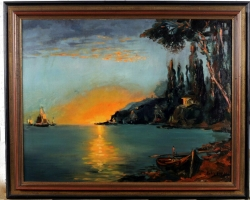 Apus de soare la malul marii, peisaj marin, peisaj cu marea albastra, Tablou peisaj marin cu vapoare tablou nautic, tablou cu malul marii