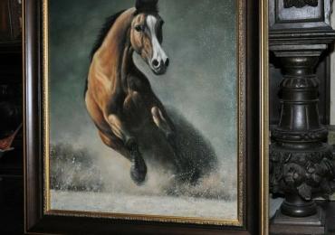 Armasar alergand prin apa ,tablou cu animale salbatice, tablouri cu animale pictate, t