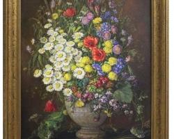 Art Deco Era Oil on Canvas Painting Wildflowers by Emil Fiala Vienna, 1930s, Buchet de flori, tablou cu flori in vaza, tablou floral