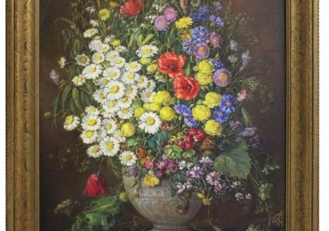 Art Deco Era Oil on Canvas Painting Wildflowers by Emil Fiala Vienna, 1930s, Buchet de flori, tablou cu flori in vaza, tablou floral