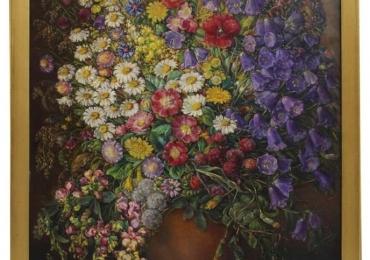 Art Deco Vintage Painting Oil on Canvas Field Flowers by Emil Fiala 1933, Vienna Vas cu fiori, tablou cu flori de gradina, tablou floral