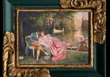 Arturo Ricci, Tablou cu peisaj de vara, tablou cu rau, tablou lac langa padure, peisaj din natura, tablou cu un cuplu indragostit, tablou cu indragostiti