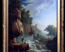 Atmospheric Italian Old Master Painting 18th Century, Tablou cu peisaj de vara, tablou cu cascade, tablou cu padure si apa curgatoare, peisaj din natura