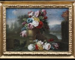 Attr. Giacomo Nani (Porto Ercole, 1701 – Naples, 1770), Couple still life with vases in a garden,
