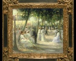 Auguste Michel Nobillet, tablou cu peisaj de vara, tablou cu femei in parc, tablou cu nobili adunati in curtea unui palat