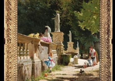 Aurelio Tiratelli, Tablou cu peisaj de vara, tablou cu parc, tablou cu flori, peisaj din natura, tablou cu soare, tablou cu statui, tablou cu oameni in parc