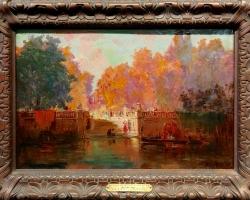 Autumn in Venice, French Impressionist Oil Painting, Tablou cu peisaj Venetian, tablou cu gondole, tablou cu vapoare, tablou nautic