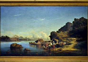 Baie de Magaud, Louis Edouard Cauvin, Tablou cu peisaj de vara, tablou cu rau, tablou lac langa padure, peisaj din natura