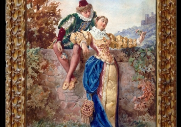Baldomero Galofre y Giminez, Tablou cu peisaj de vara, tablou cu parc, tablou cu flori, peisaj din natura, Tablou cu indragostiti