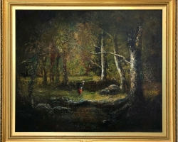 Barbizon Forest, Tablou cu peisaj de vara, tablou cu peisaj forestier, tablou cu padure, tablou luminis in poiana, peisaj din natura