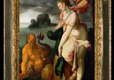 Bartholomeus Spranger Glaucus and Scylla, Tablou cu peisaj marin si personaje, tablou din mitologia Greaca, tablou cu nud de femeie