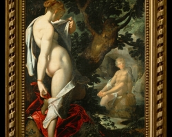 Bartholomeus Spranger Hermaphroditus und die Nymphe Salmakis, Pictura celebra, tablou cu peisaj de vara, tablou cu scena mitologica, tablou cu nud de femeie