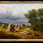 Barton Hills 19th Century English Summer Landscape Oil Painting. Tablou p