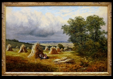 Barton Hills 19th Century English Summer Landscape Oil Painting. Tablou p