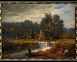 Bavarian Landscape with Fisherman, Tablou cu peisaj de vara, tablou cu cascade, tablou cu padure si apa curgatoare, peisaj din natura, tablou cu pescar