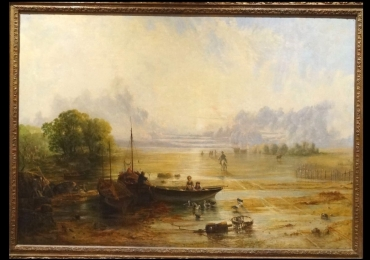 Beach Landscape Antique John Wright, Tablou cu peisaj de vara, tablou cu rau, tablou lac, peisaj din natura, tablou cu barci, tablou cu rasarit de soare