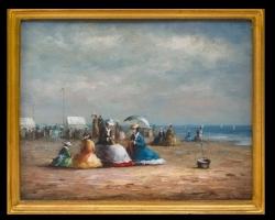 Beach scene, tablou cu peisaj marin, tablou cu plaja, tablou cu femei pe plaja tablou cu femei elegante, tablou cu oameni la malul marii