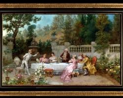 Beda Francesco, The Betrothal Oil on Canvas, tablou cu peisaj de vara, tablou cu bogatasi stransi la masa, tablou cu nobili in parc