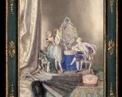 Bibelou de portrelkan unicat, Tablou pictat natura moarta, tablou natura statica, idei de cadouri pentru ocazii deosebite