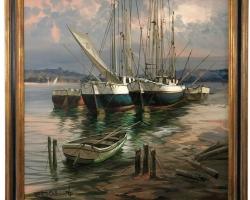 Big Bold Painterly Canvas of Harbor Sailboats, Tablou cu peisaj marin cu vapoare tablou nautic, tablou cu malul marii, tablou cu doc