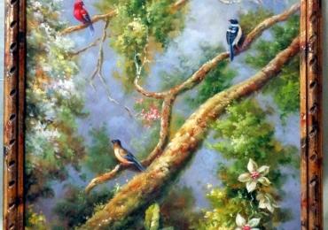 Birds on Tree Branches, , Tablou ramuri cu flori, tablou cu flori si pasari asezate pe ramurele, tablou floral