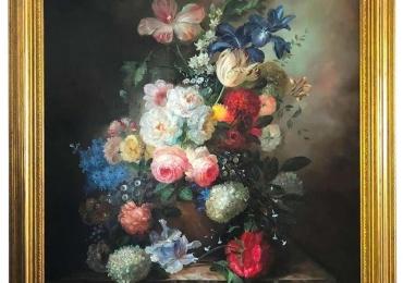 Bouquet of Carnations Still Life, Signed by S.Pecora, 20th Century, Buchet de flori, tablou cu flori in vaza, tablou floral