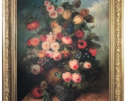 Bouquet of Carnations and Fruit Still Life, 20th Century, Buchet de flori, tablou cu trandafiri in vaza, tablou floral