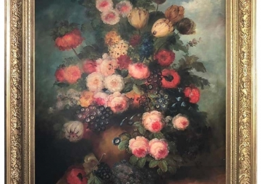 Bouquet of Carnations and Fruit Still Life, 20th Century, Buchet de flori, tablou cu trandafiri in vaza, tablou floral