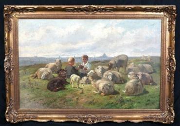 Boys Playing Cards Among The Sheep and Lambs Cornelis Van Leemputten, Tablou cu peisaj de vara, tablou cu ciobanasi, tablou cu oi, tablou cu peisaj de campie
