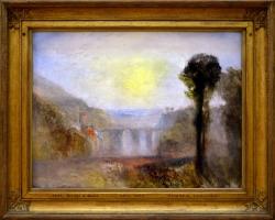 Bridge and goats, The ponte delle torri, Spoleto 1840 Joseph Mallord William Turner, Tablou cu peisa, tablou peisaj rasarit de soare