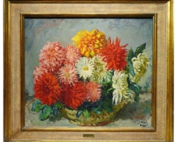 Buchet cu  flori de gradina, tablou cu flori in vaza, tablou floral