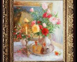 Buchet de flori pentru o cina romantica, Tablou pictat flori de trandafiri, Tablou floral, idei de cadouri, aranjamente  florale