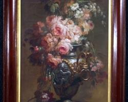 Buchet de flori, tablou cu flori de trandafiri, tablou floral, Dipinti italiani coppia quadri nature morte olio su tela