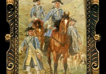 Busson Georges, Tablou cu peisaj de toamna, tablou cu cai si caini, tablou cu vanatori, tablou cu scena vanatoreasca