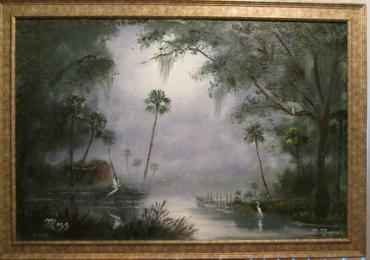Cabin along Misty River, Tablou cu peisaj de vara, tablou cu rau, tablou lac langa padure, peisaj din natura, tablou cu arbori exotici