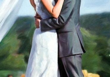 Cadouri de nunta idei, portrete la comanda, Tablouri pictate manual pe panza, portret de nunta
