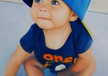 Cadouri de suflet, portrete la comanda, Tablou pictat dupa poza, portret de copil, portret de baietel cu sapca albastra.