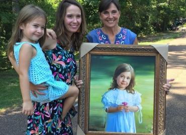 Cadouri de ziua copilului, portrete la comanda, Tablou pictat dupa poza, portret de fetita, portret de copil