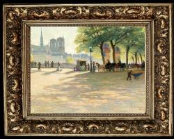 Calèches sur le pont Louis Philippe, Paris, Tablou cu peisaj de vara, tablou cu parc, tablou cu oameni in natura, peisaj din natura