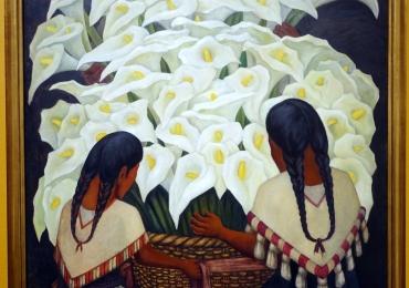 Calla Lily Vendor, Diego Rivera, Vas impletit plin cu cale albe, tablou cu flori albe, tablou cu flori de toamna, tablou floral