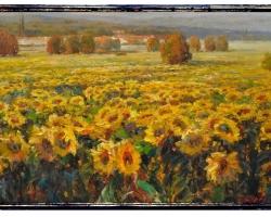 Camp cu floarea soarelui. Tablou pictat manual in ulei pe panza. Gama de lux