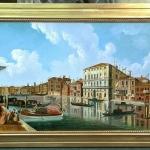 Canal venetian.Tablou pictat manual in ulei pe panza. Peisaj de vara. Peisaj ve