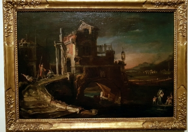 Canaletto, Capriccio notturno con ponte, peisaj Italian Capriccio cu pod peste rau, tablou cu peisaj nocturn