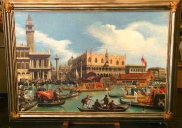 Canaletto falsi d'autore, quadri famosi, riproduzioni quadri, dipinti, Tablou cu peisaj Venetian, tablou cu gondole, tablou cu vapoare, tablou nautic, tablou cu cladiri venetiene