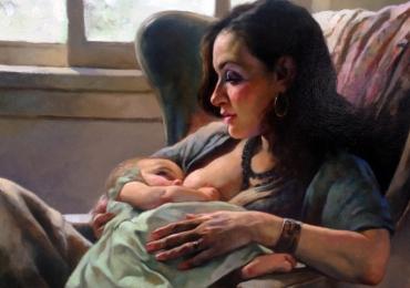 Cand am devenit parinti. Portret la comanda pictat manual. Portret de familie, portret de mamica, portret mama si copilul
