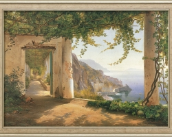 Carl Frederic Aagaard, Painting View to the Amalfi Coast, Tablou cu peisaj marin, tablou nautic, tablou cu malul marii, tablou peisaj de vara